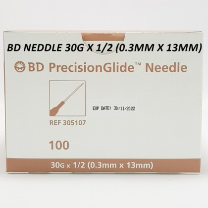 Bd Precisionglide Needle 30g 1/2 (0.3mm x 13mm) 100's