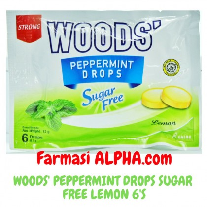 Woods' Peppermint Drops Sugar Free Lemon 6's