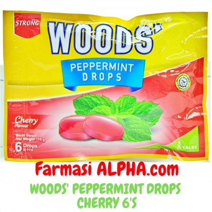 Woods' Peppermint Drops Cherry 6's