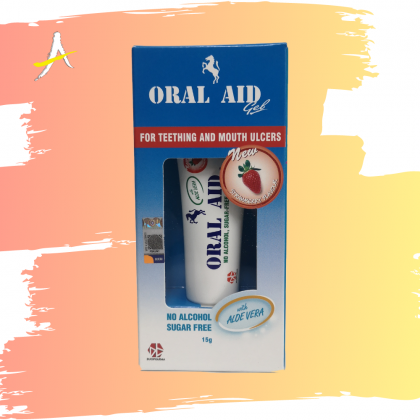 Oral Aid For Teething And Mouth Ulcers Strawberry Flavour 15gm