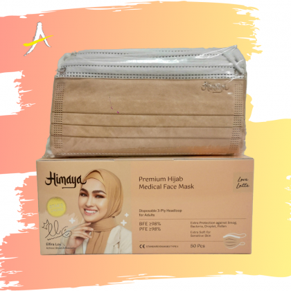 Himaya Premium Hijab Medical 3 Ply Headloop Face Mask Love Latte 50pcs