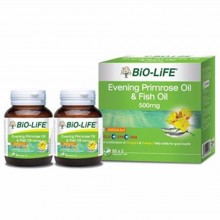BIO-LIFE EVENING PRIMROSE OIL & FISH OIL 500MG 2 X 60'S