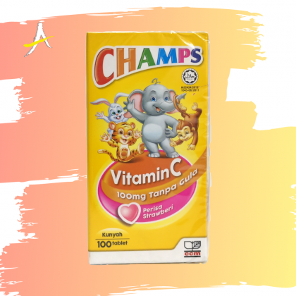 Champs Vitamin C 100mg Sugar Free Strawberry Flavour 100 Chewable Tablets