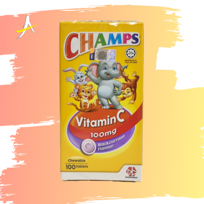 Champs Vitamin C 100mg Blackcurrant Flavour 100 Chewable Tablets