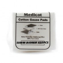 MEDICOT COTTON GAUZE PADS 50MM X 40MM X 50PCS(DRESSING)
